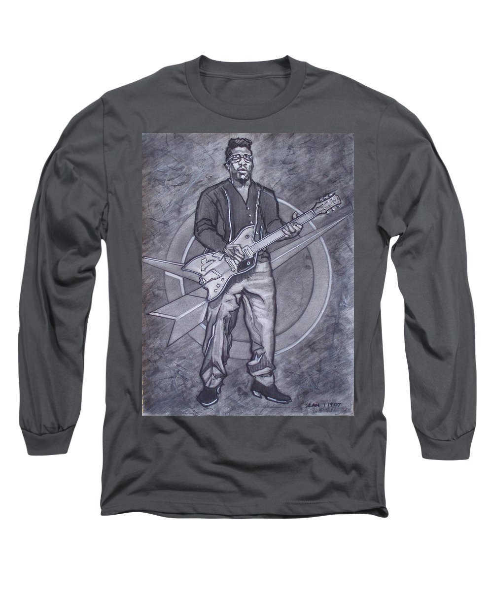 Texas;charcoal;king Of Rock;rock And Roll;music;1950s;blues;musician;funk;electric Guitar;marble;soul Long Sleeve T-Shirt featuring the drawing Bo Diddley - Have Guitar Will Travel by Sean Connolly