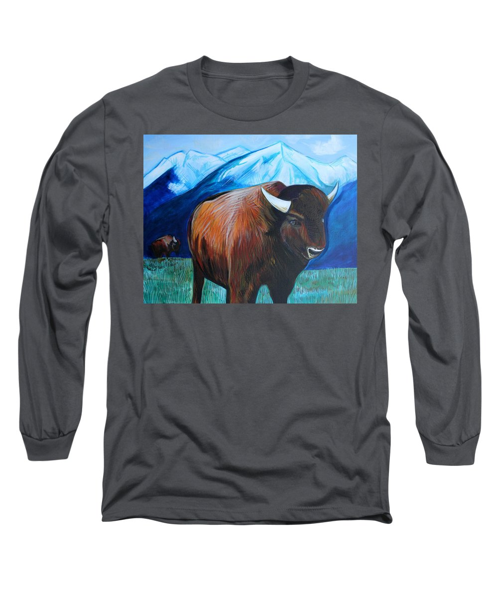 Buffalo Long Sleeve T-Shirt featuring the painting Buffalo by Kate Fortin