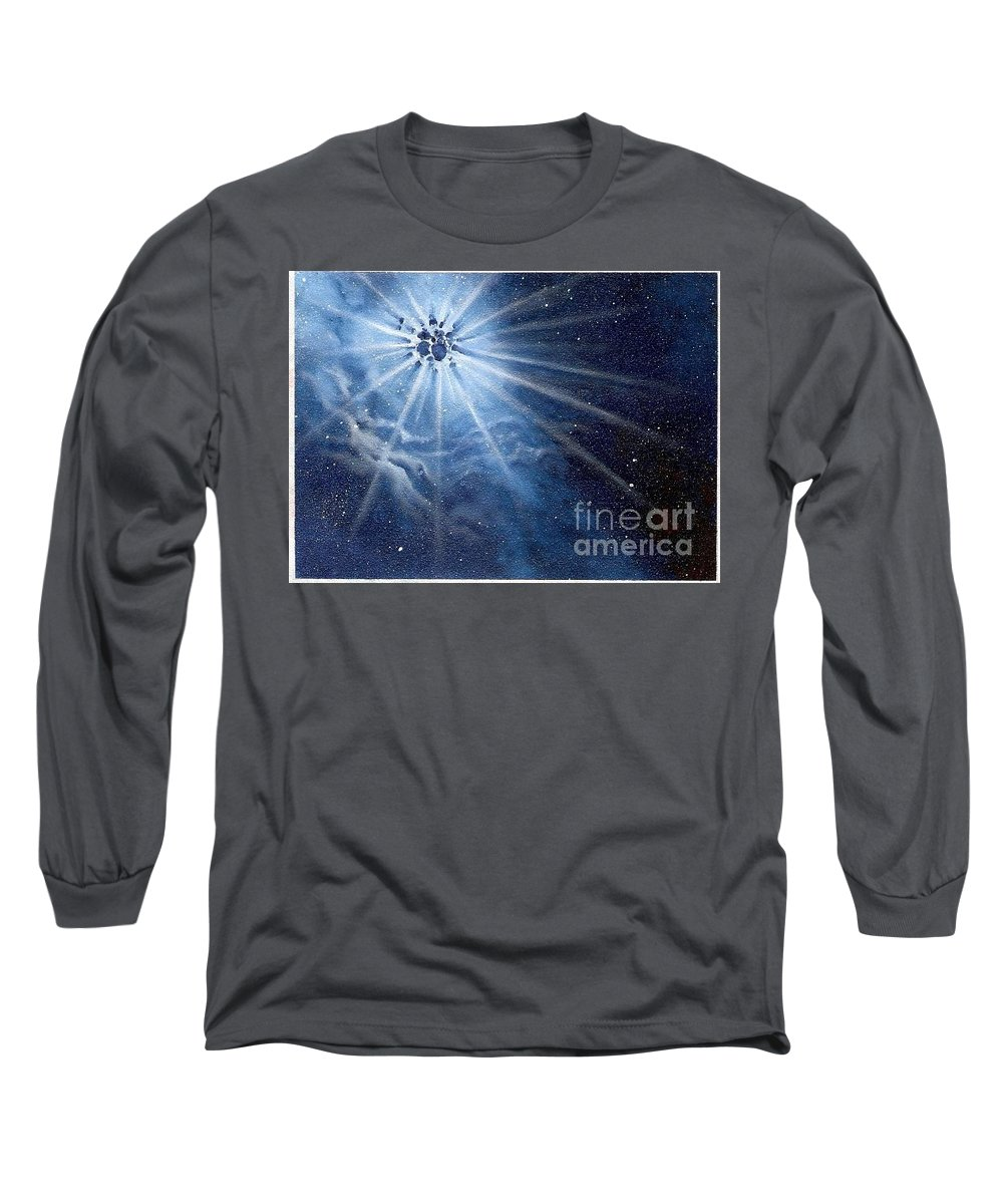 Outerspace Long Sleeve T-Shirt featuring the painting Burst Of Light by Murphy Elliott