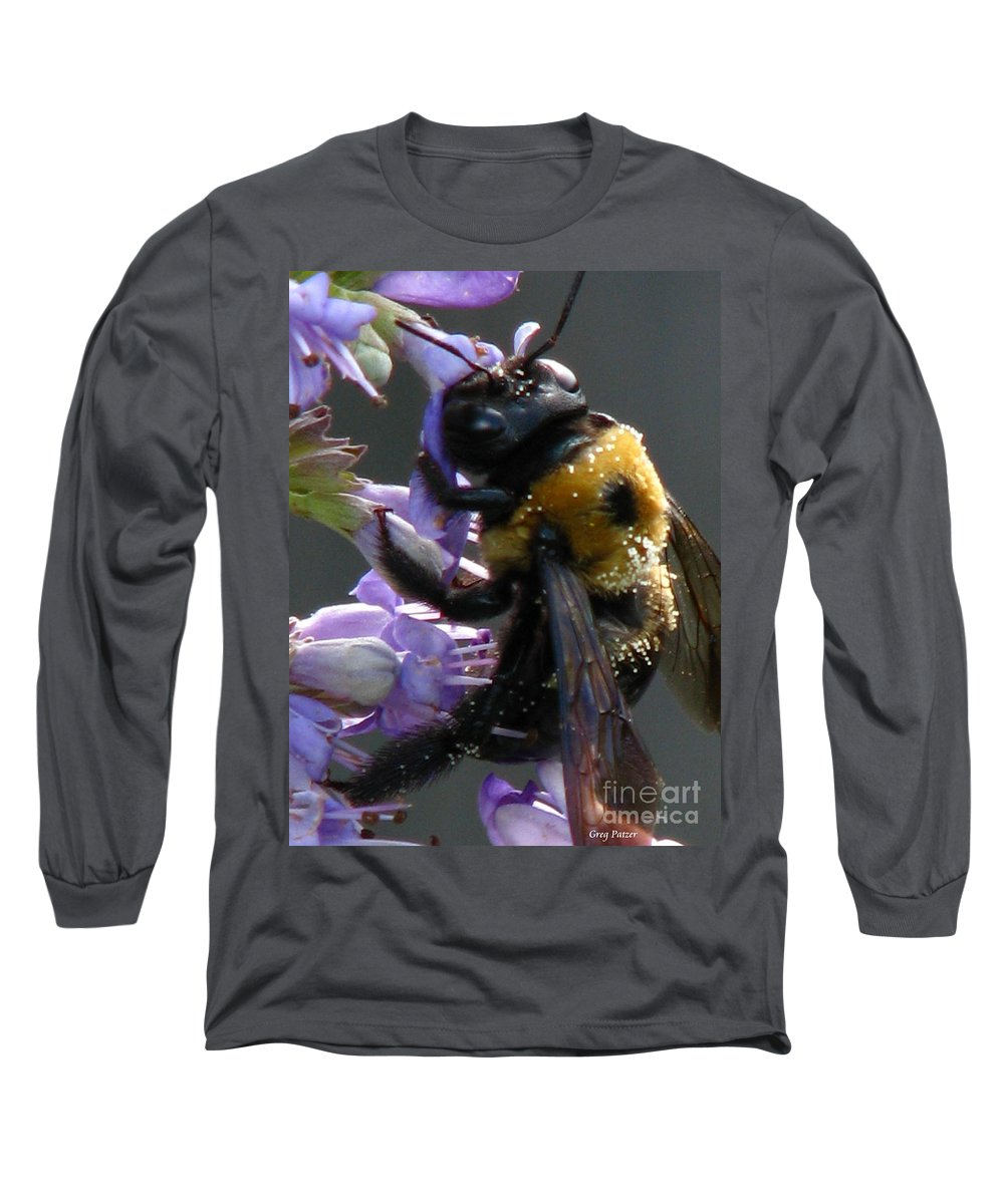 Patzer Long Sleeve T-Shirt featuring the photograph Busy Bee by Greg Patzer