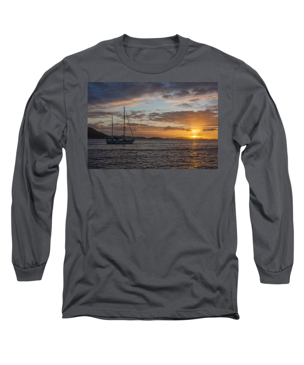 3scape Long Sleeve T-Shirt featuring the photograph Bvi Sunset by Adam Romanowicz