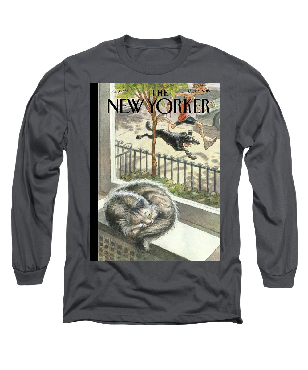 Cat Long Sleeve T-Shirt featuring the painting Catnap by Peter de Seve
