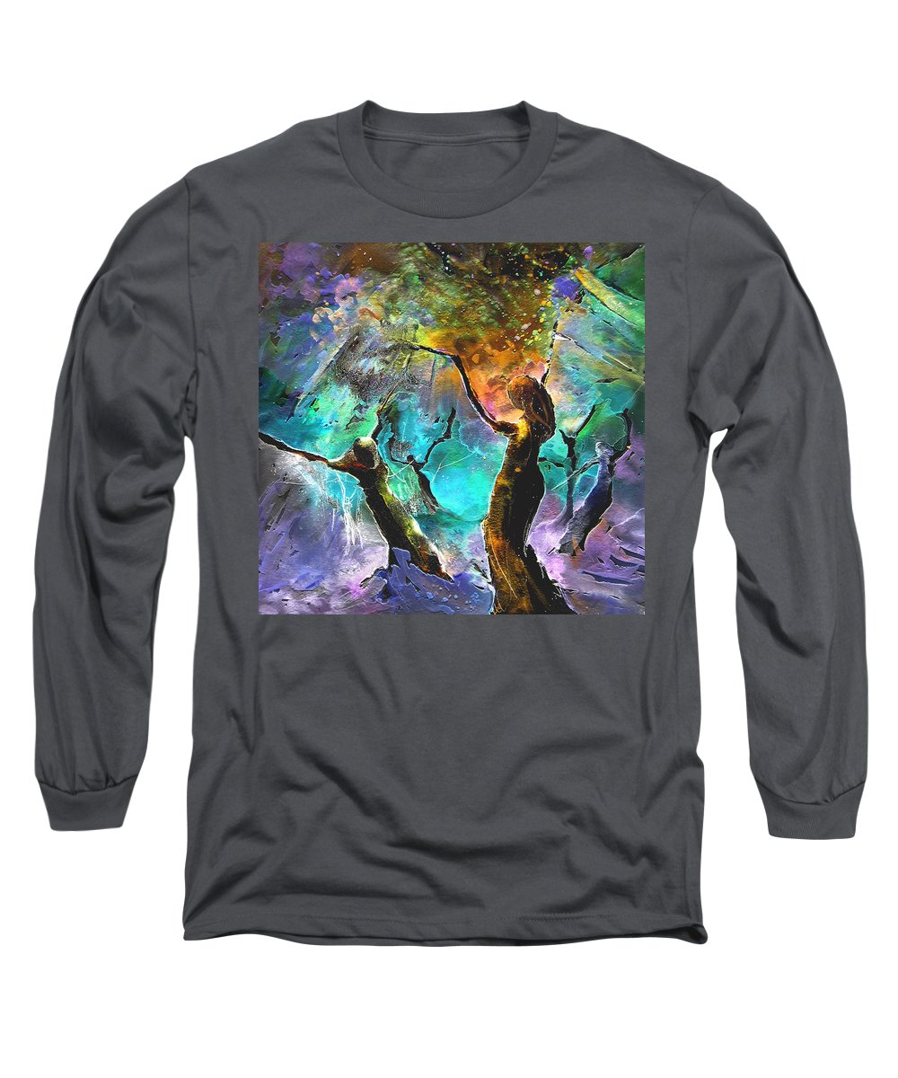 Miki Long Sleeve T-Shirt featuring the painting Celebration Of Life by Miki De Goodaboom