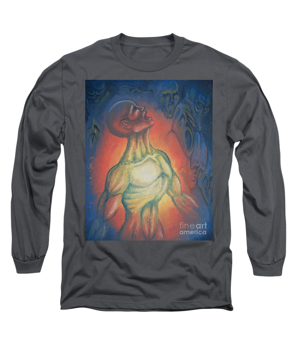 Tmad Long Sleeve T-Shirt featuring the painting Center Flow by Michael TMAD Finney