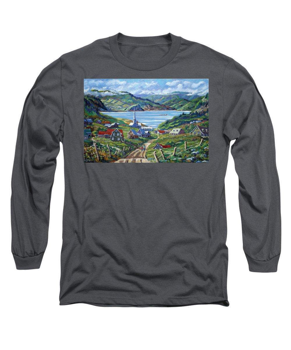 Long Sleeve T-Shirt featuring the painting Charlevoix Scene by Richard T Pranke