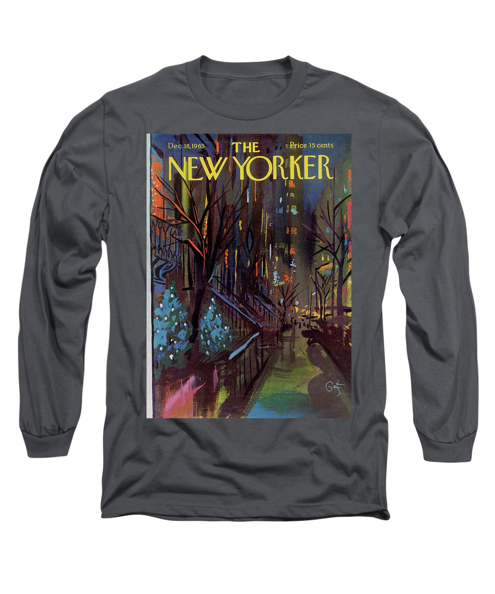 Christmas Long Sleeve T-Shirt featuring the painting Christmas In New York by Arthur Getz