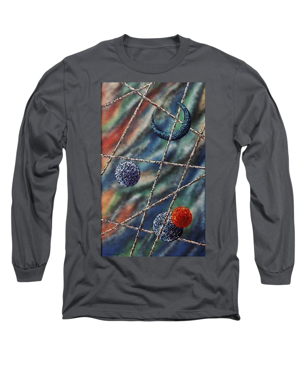 Abstract Long Sleeve T-Shirt featuring the painting Crescent by Micah Guenther