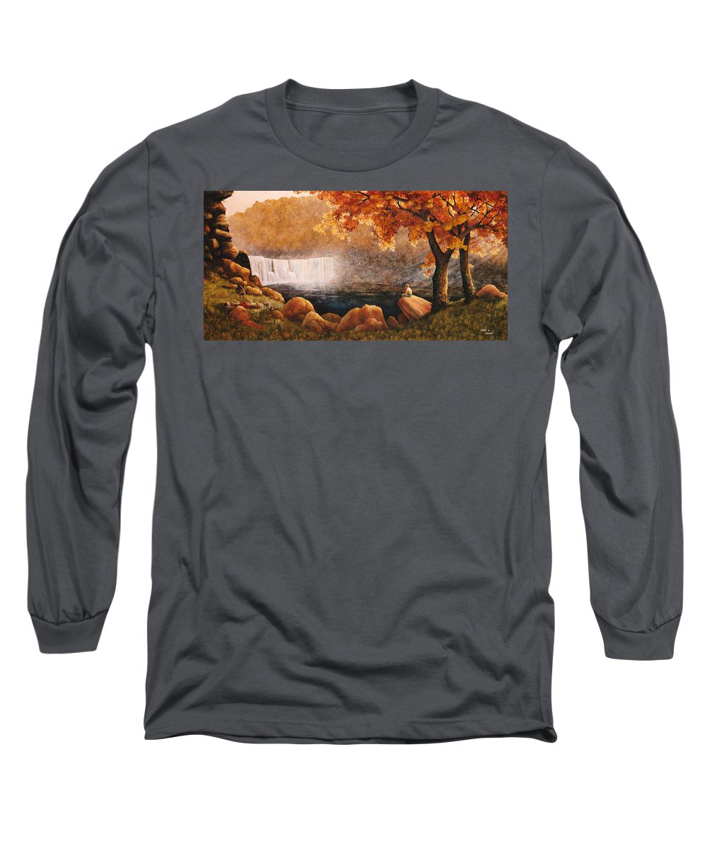 Waterfall Long Sleeve T-Shirt featuring the painting Cumberland Falls by Duane R Probus