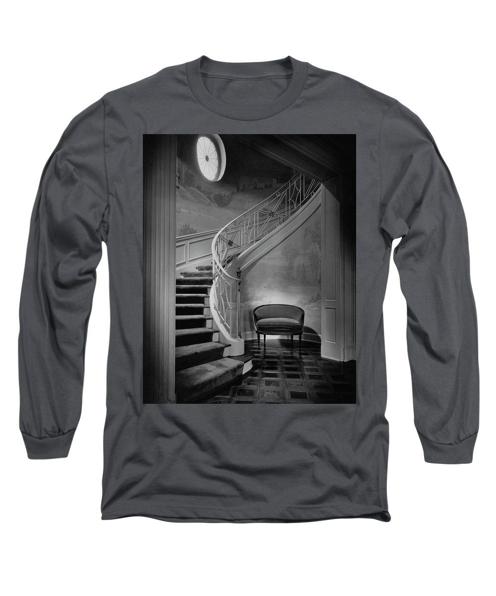 Interior Long Sleeve T-Shirt featuring the photograph Curving Staircase In The Home Of W. E. Sheppard by Maynard Parker