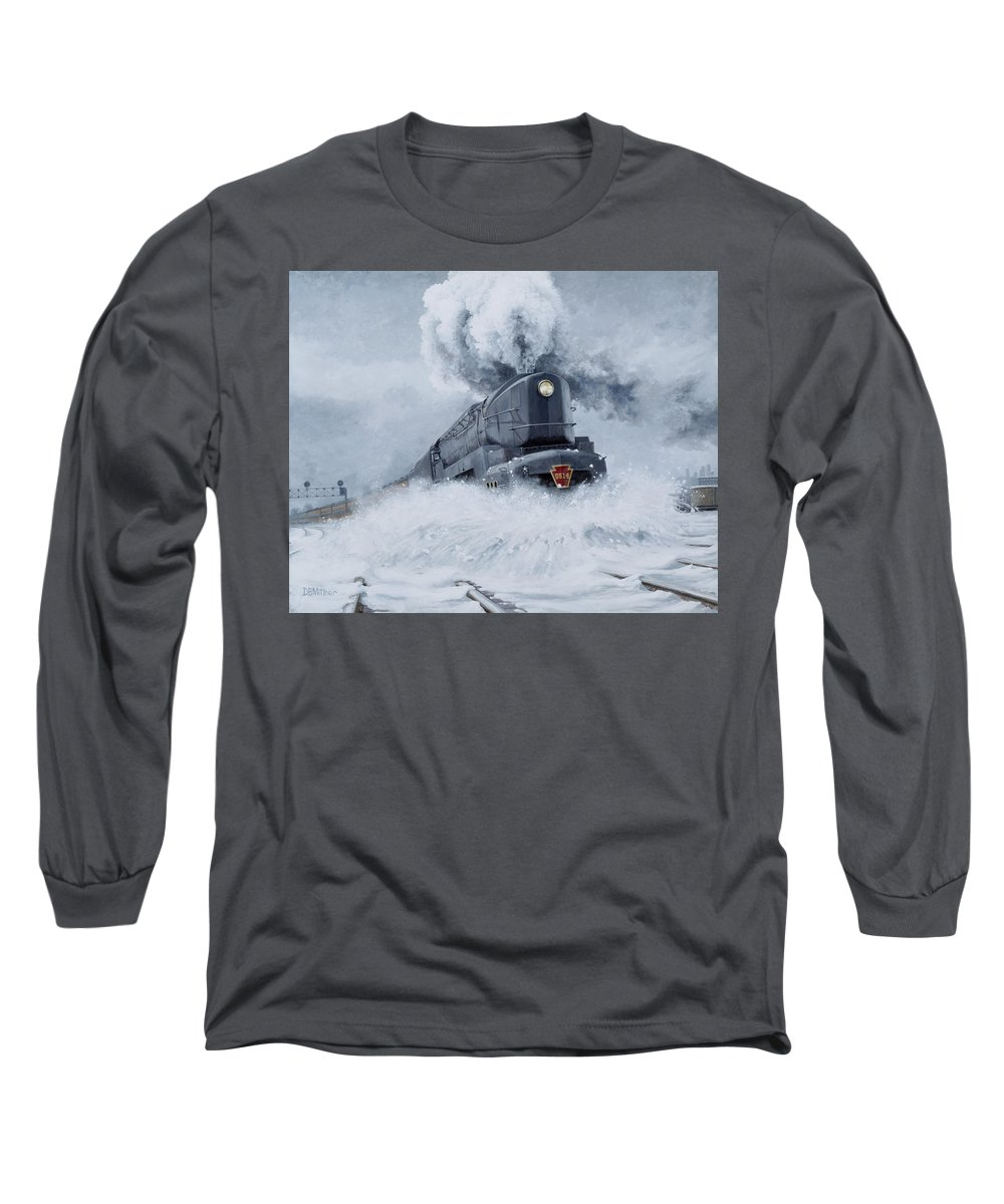 Trains Long Sleeve T-Shirt featuring the painting Dashing Through The Snow by David Mittner