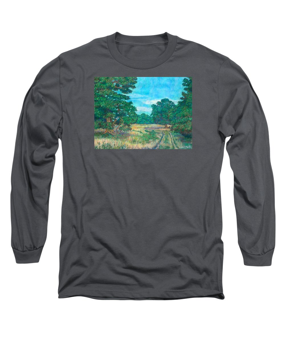 Landscape Long Sleeve T-Shirt featuring the painting Dirt Road Near Rock Castle Gorge by Kendall Kessler