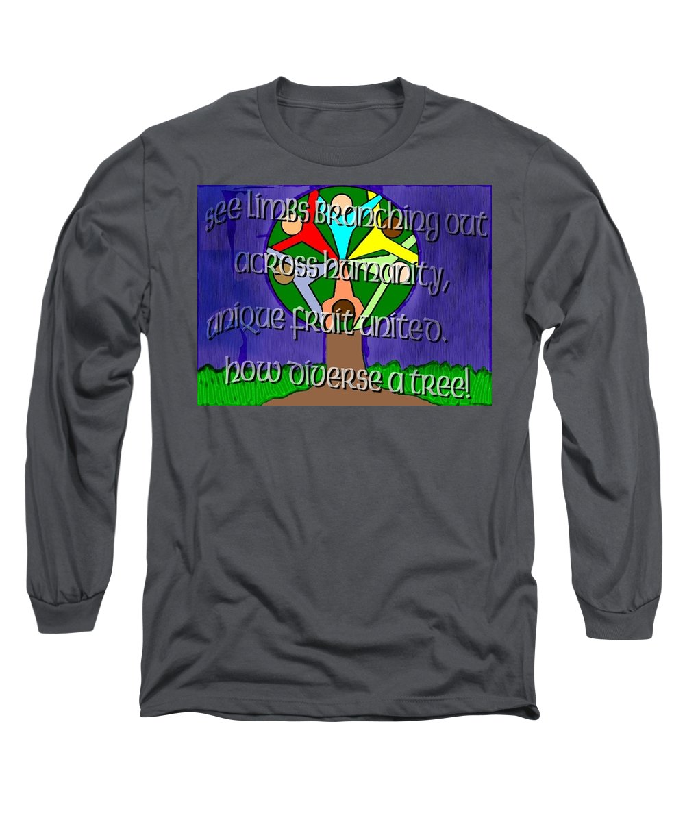 Diversity Long Sleeve T-Shirt featuring the painting Diversity Tree by Pharris Art