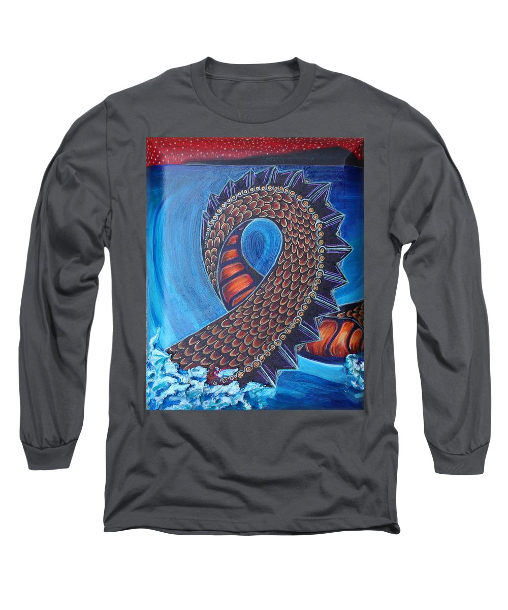 Dragon Long Sleeve T-Shirt featuring the painting Dragon Two by Kate Fortin