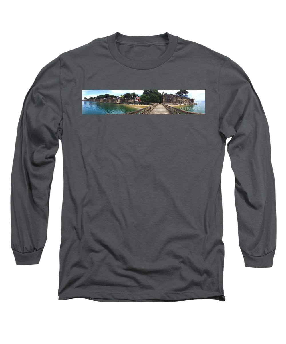 San Juan Long Sleeve T-Shirt featuring the painting El Morro Park by Carey Chen