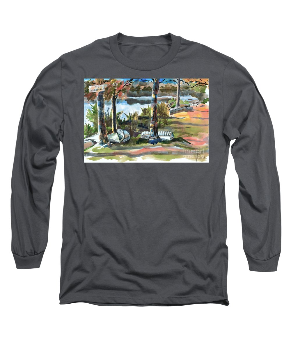 Evening Shadows At Shepherd Mountain Lake No W101 Long Sleeve T-Shirt featuring the painting Evening Shadows At Shepherd Mountain Lake No W101 by Kip DeVore
