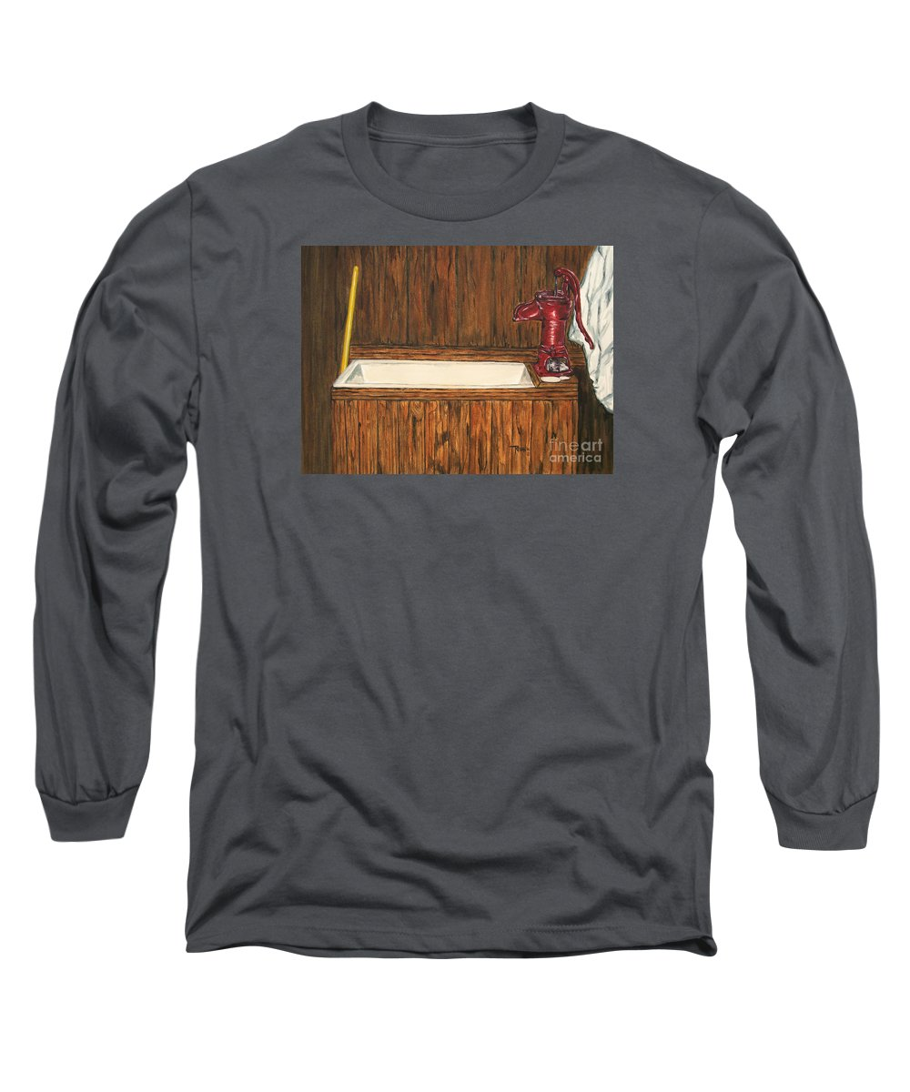 Farm Sink Long Sleeve T-Shirt featuring the painting Farm Sink by Regan J Smith