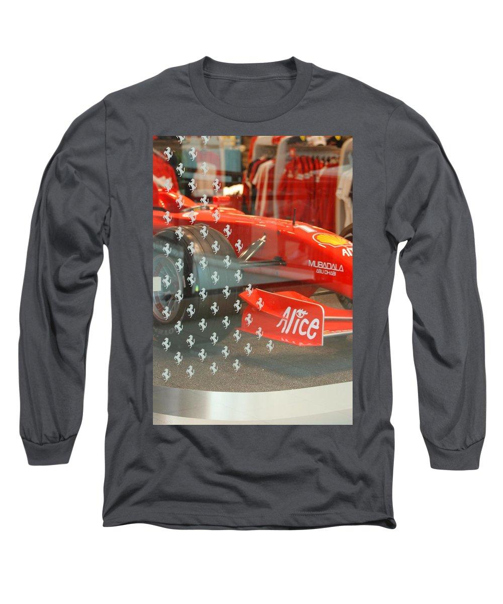 Stallions Long Sleeve T-Shirt featuring the photograph Ferrari Formula One by Rob Hans