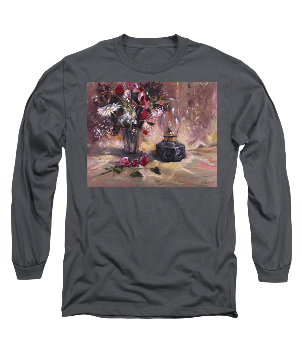 Flowers Long Sleeve T-Shirt featuring the painting Flowers With Lantern by Nancy Griswold