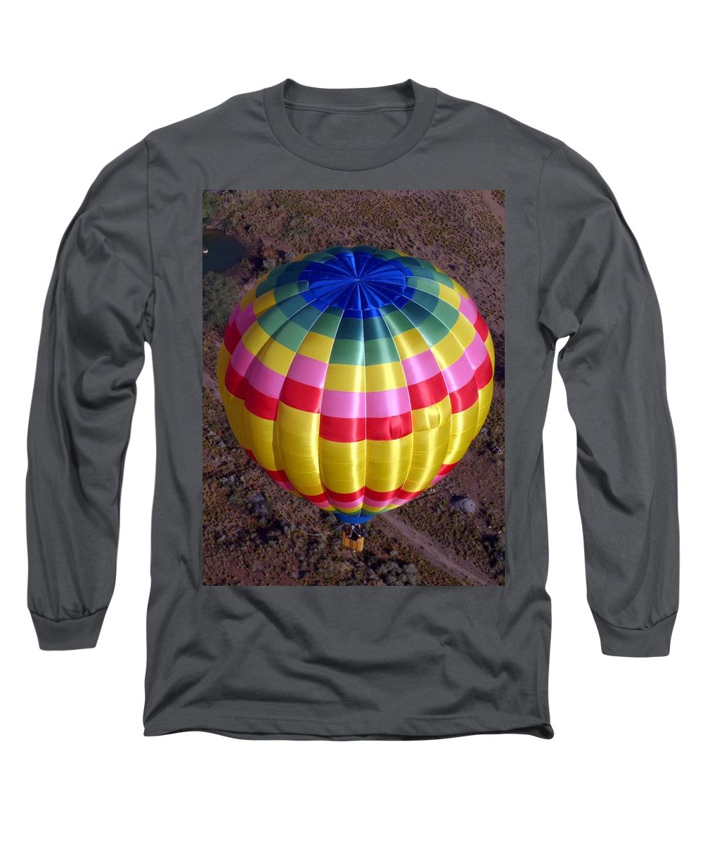 Hot Air Balloon Long Sleeve T-Shirt featuring the photograph From Above by Mary Rogers