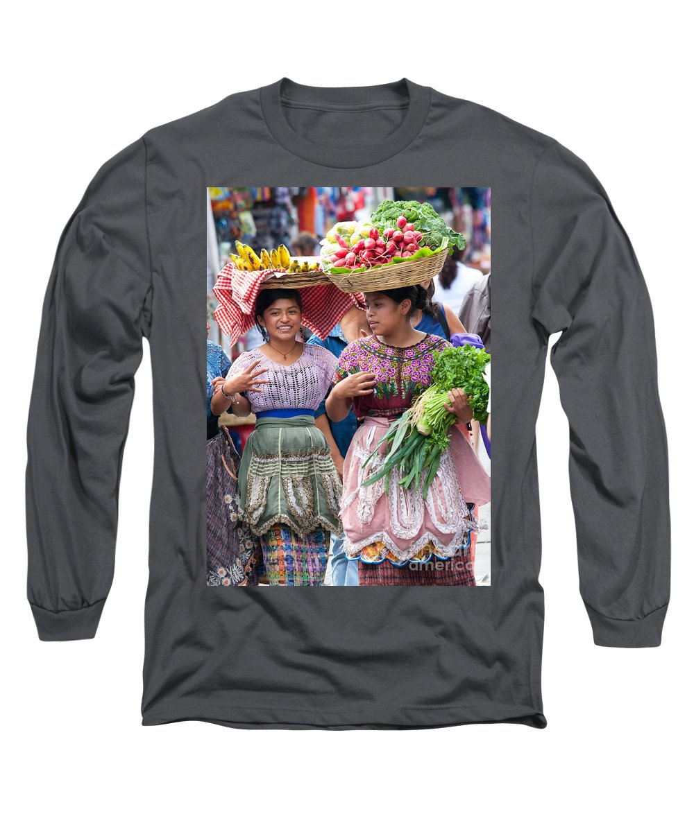 Colorful Long Sleeve T-Shirt featuring the photograph Fruit Sellers In Antigua Guatemala by David Smith