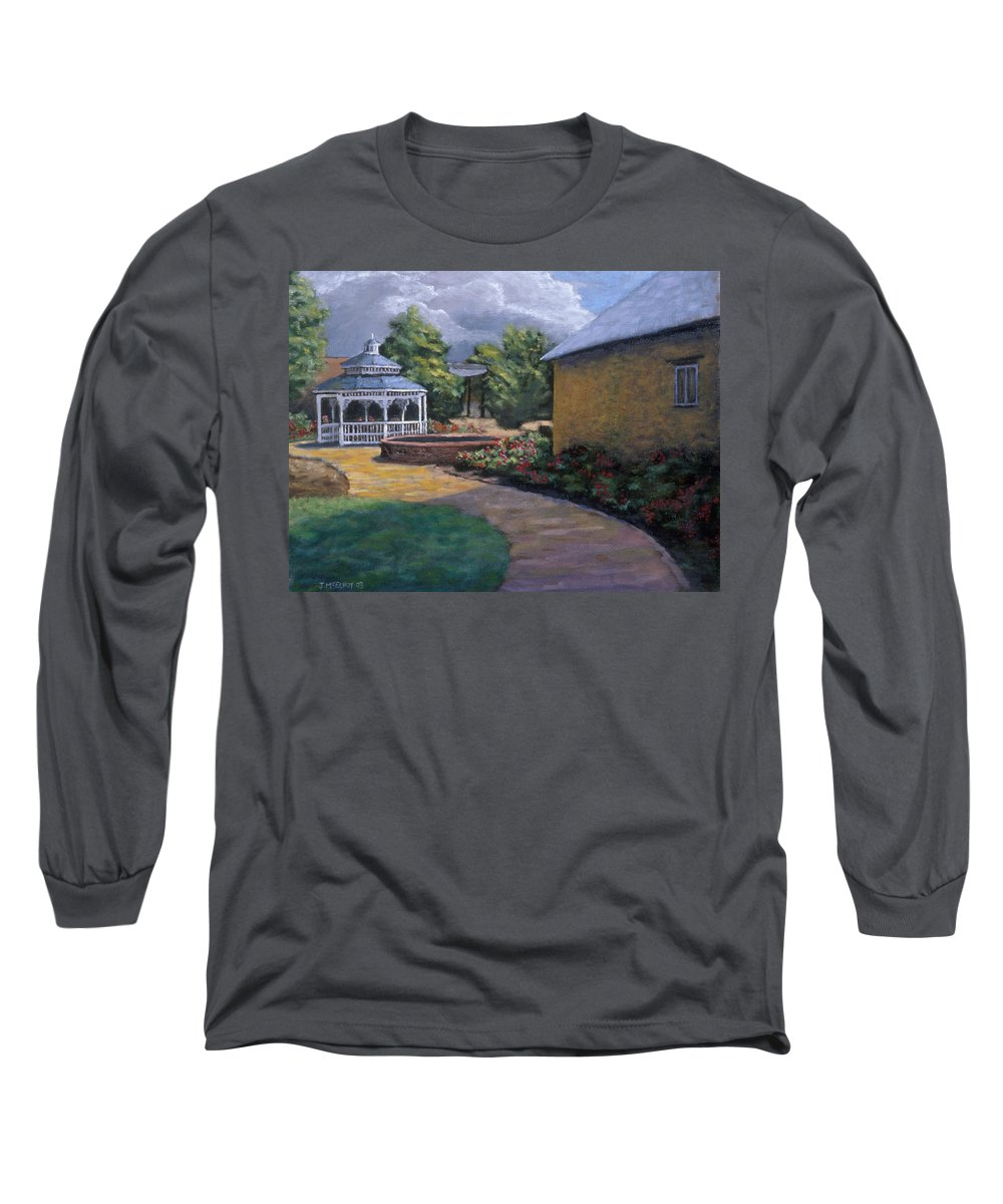 Potter Long Sleeve T-Shirt featuring the painting Gazebo In Potter Nebraska by Jerry McElroy
