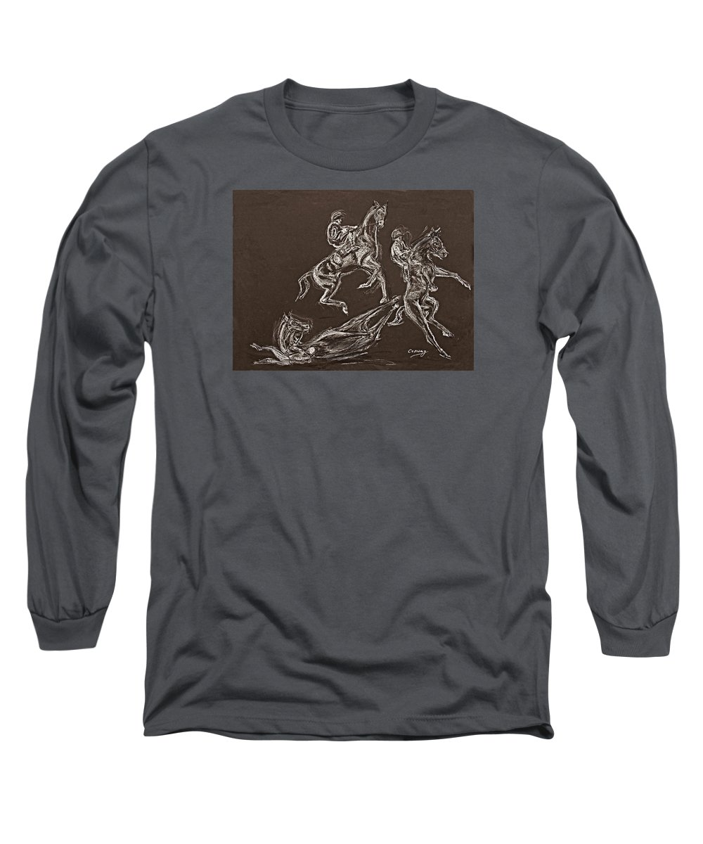Rearing Horse Long Sleeve T-Shirt featuring the drawing Ghost Riders In The Sky by Tom Conway