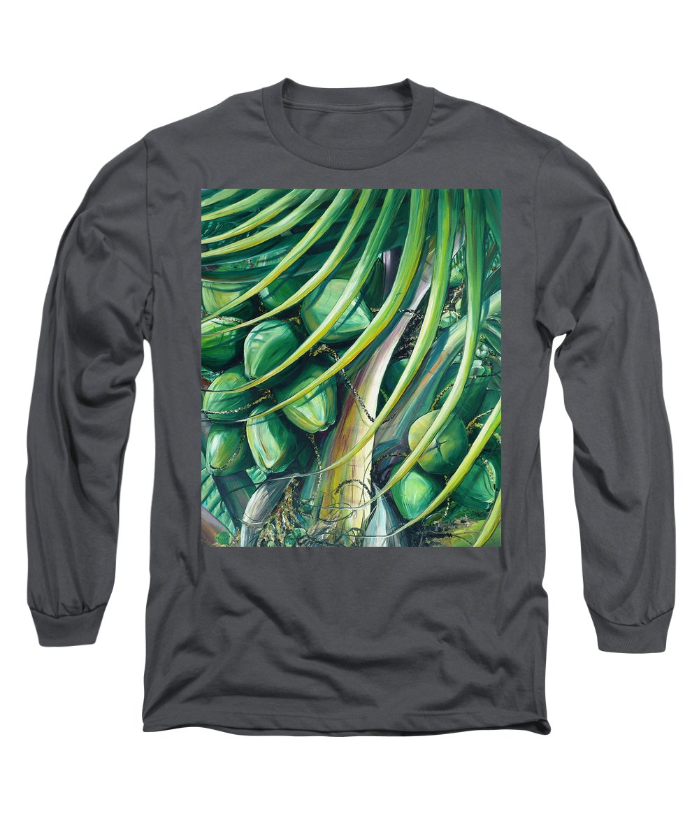 Coconut Painting Caribbean Painting Coconuts Caribbean Tropical Painting Palm Tree Painting  Green Botanical Painting Green Painting Long Sleeve T-Shirt featuring the painting Green Coconuts 2 by Karin Dawn Kelshall- Best