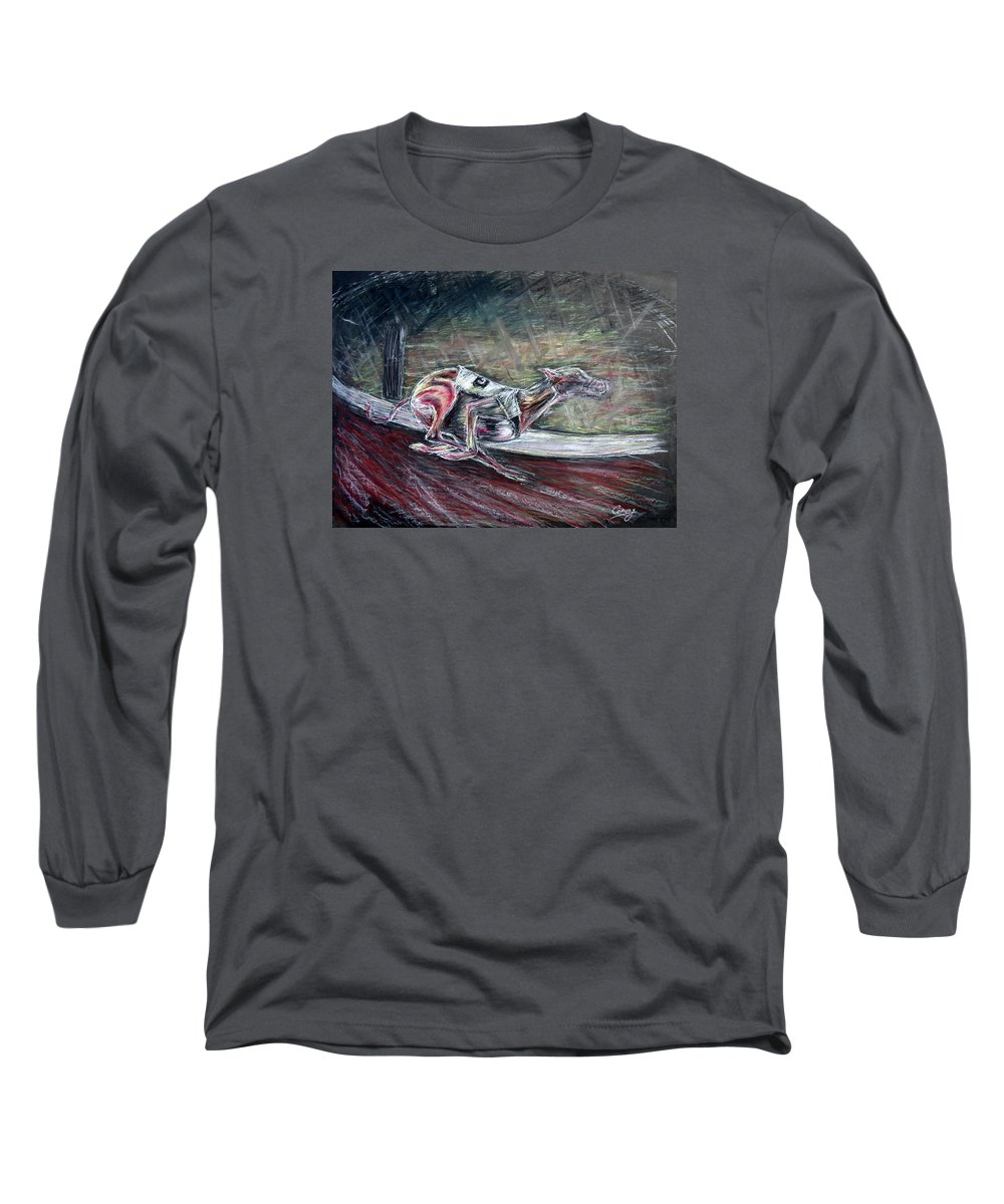 Dog Long Sleeve T-Shirt featuring the drawing Greyhound Number Three by Tom Conway