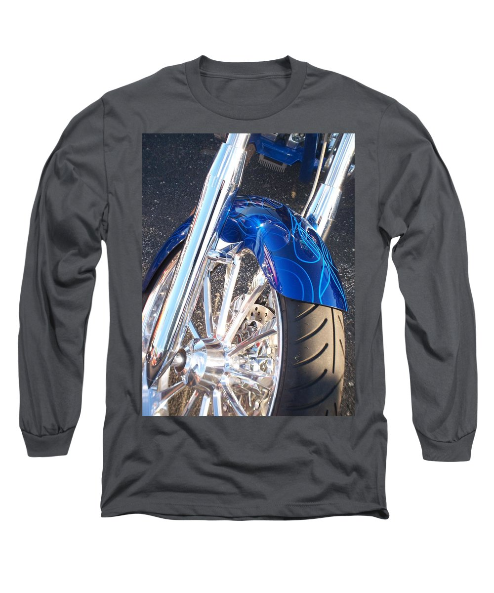 Motorcycles Long Sleeve T-Shirt featuring the photograph Harley Close-up Blue Flame by Anita Burgermeister