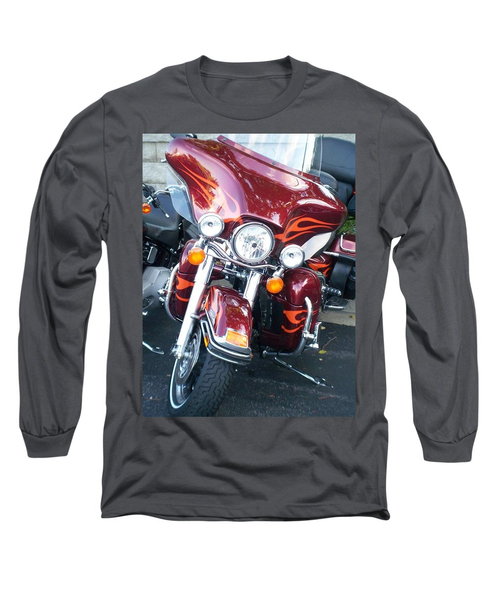 Motorcycles Long Sleeve T-Shirt featuring the photograph Harley Red W Orange Flames by Anita Burgermeister