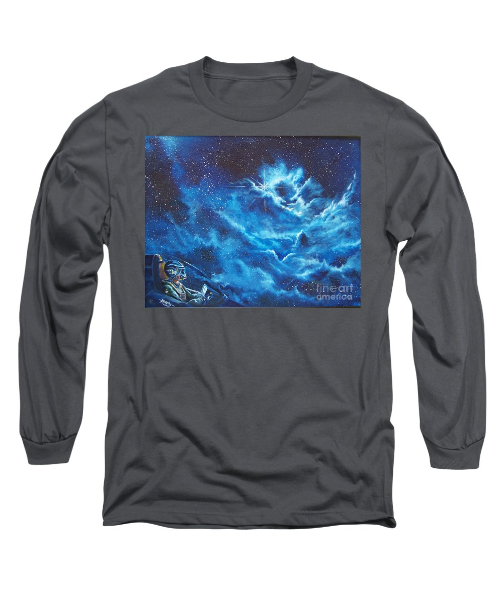 Astro Long Sleeve T-Shirt featuring the painting Heavens Gate by Murphy Elliott