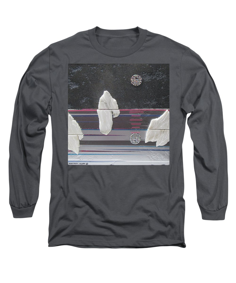 Assemblage Long Sleeve T-Shirt featuring the mixed media Ice Bergs by Elaine Booth-Kallweit