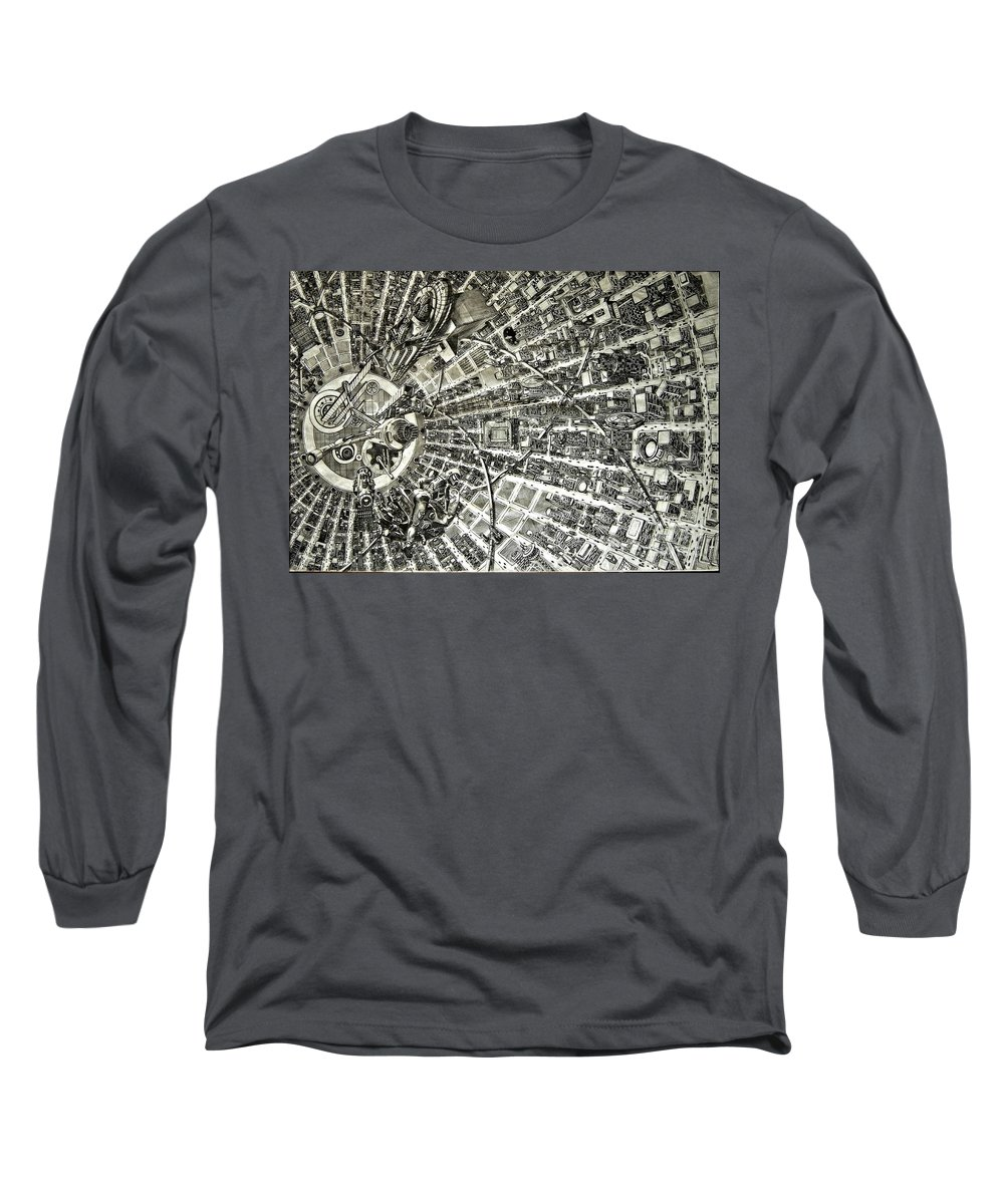 Cityscape Long Sleeve T-Shirt featuring the drawing Inside Orbital City by Murphy Elliott