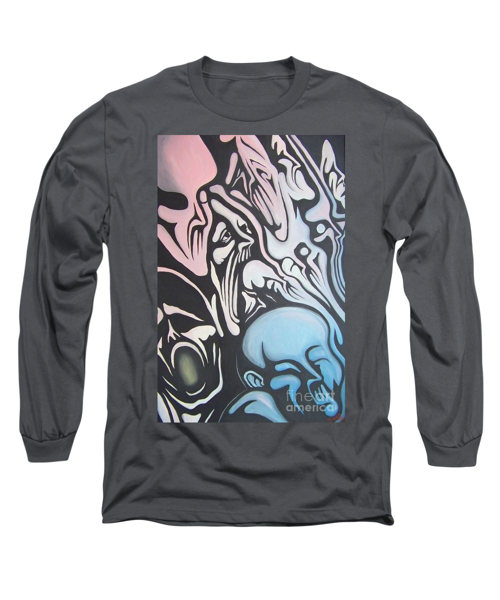 Tmad Long Sleeve T-Shirt featuring the painting Intensity by Michael TMAD Finney