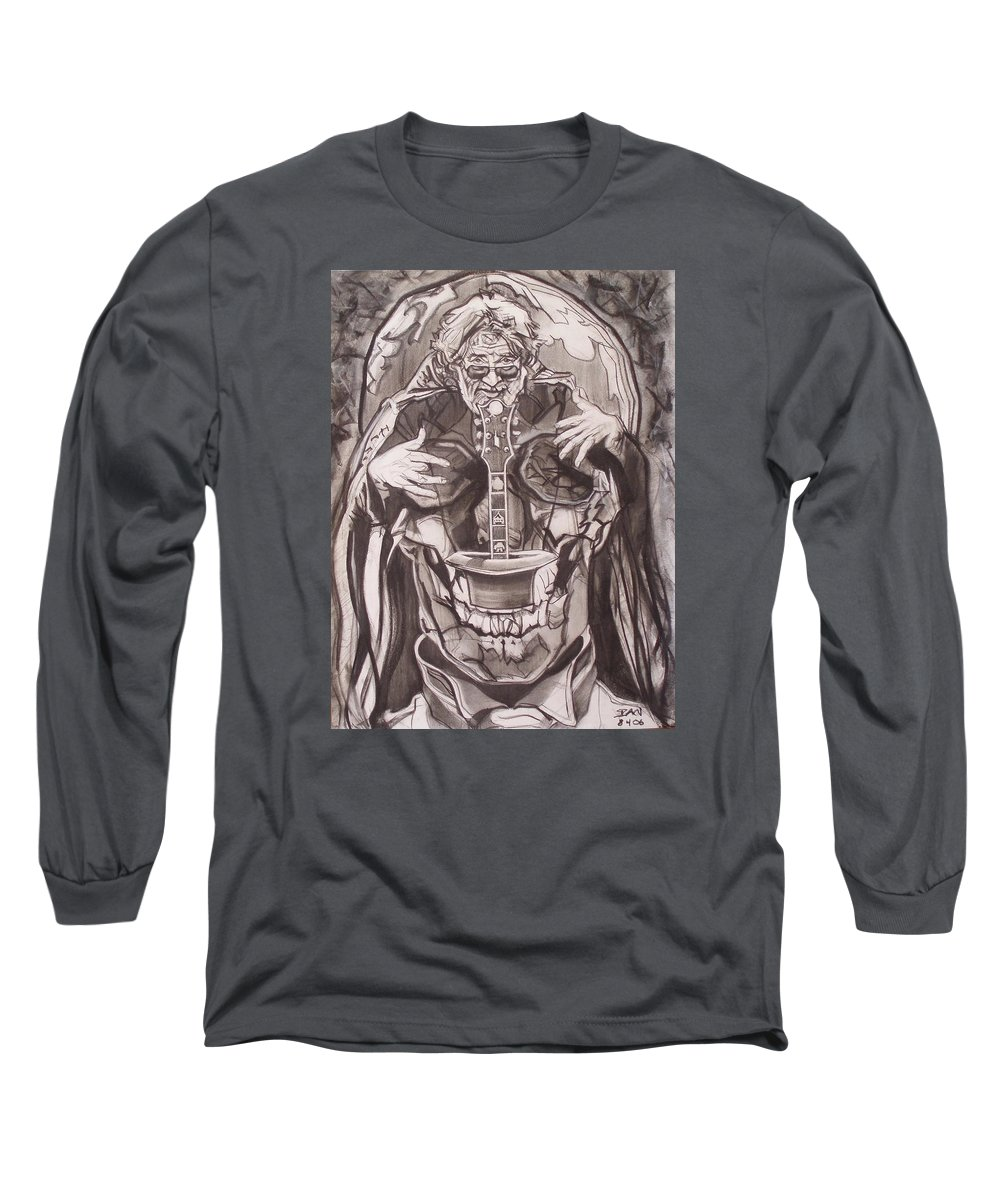Charcoal; Skull;guitar;music;magic;mystic;wizard;cape;hat;shades;grateful Dead;deadheads Long Sleeve T-Shirt featuring the drawing Jerry Garcia . . Magic Is What We Do - Music Is How We Do It by Sean Connolly