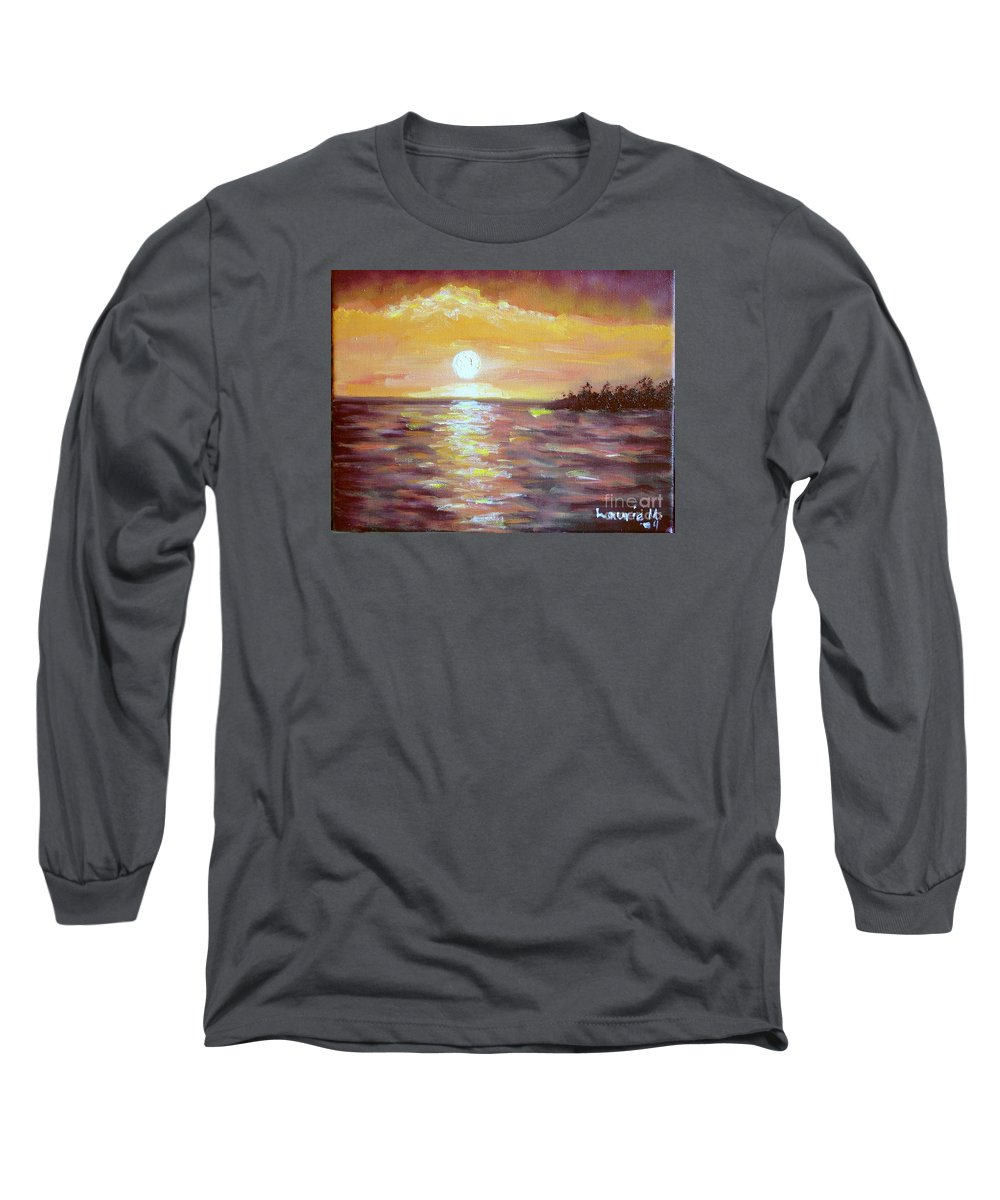 Sunset Long Sleeve T-Shirt featuring the painting Kona Sunset by Laurie Morgan