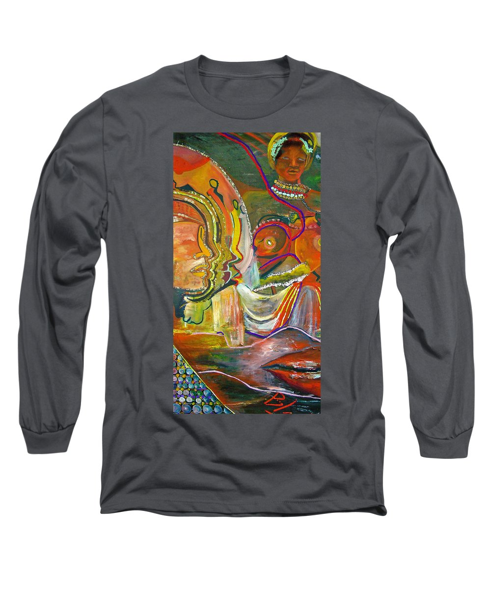 Impressionism Long Sleeve T-Shirt featuring the painting Koulikoro Woman by Peggy Blood