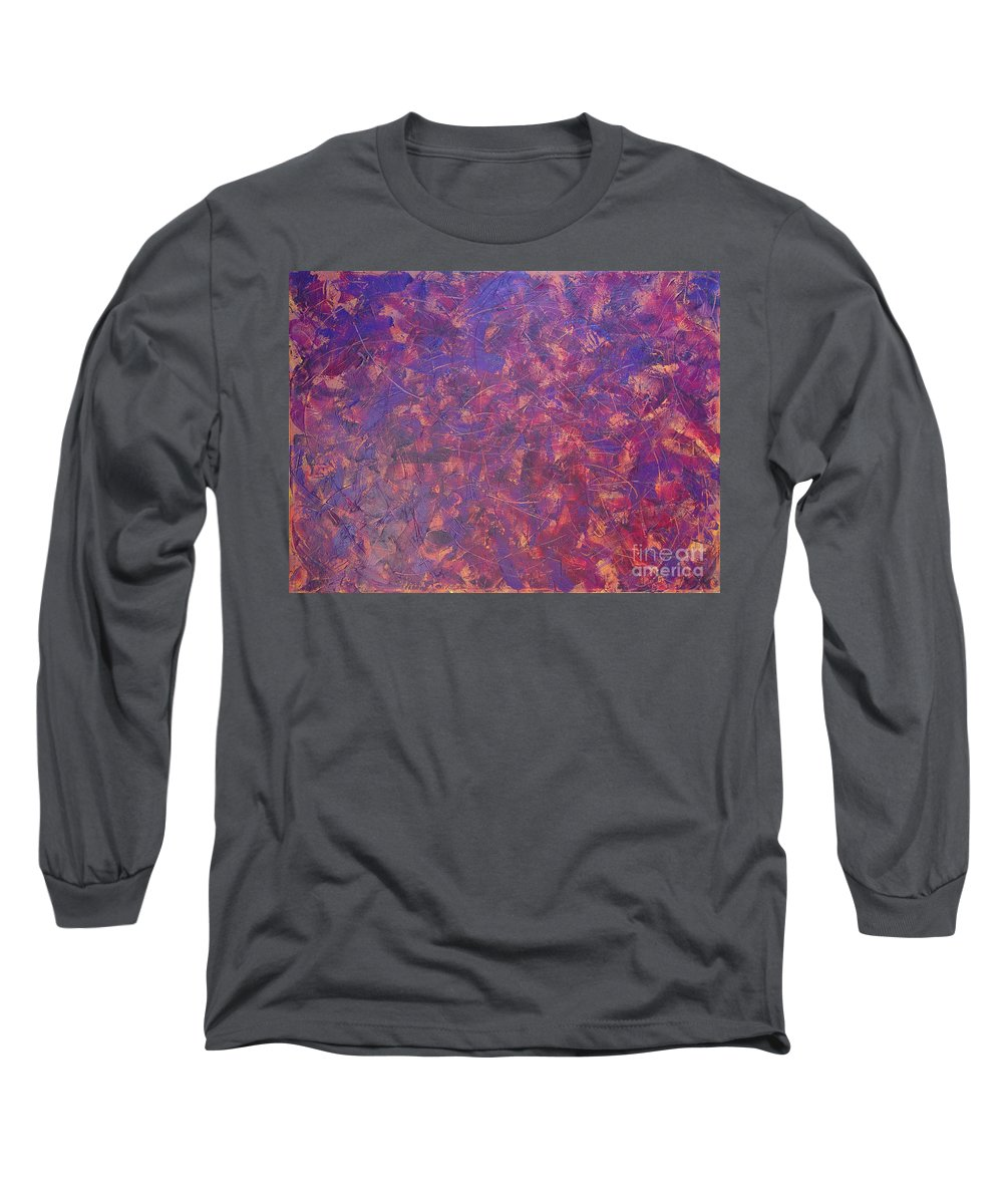 Abstract Long Sleeve T-Shirt featuring the painting Long Beach 5am by Dean Triolo