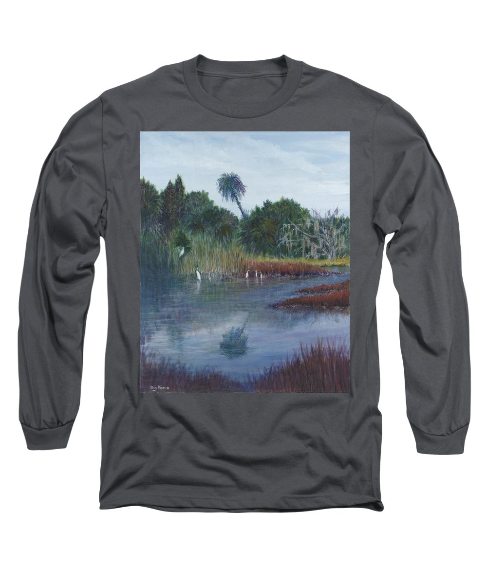 Landscape Long Sleeve T-Shirt featuring the painting Low Country Social by Ben Kiger