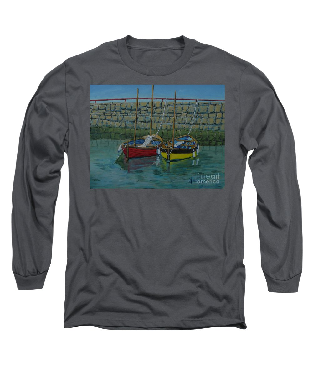 Rock Long Sleeve T-Shirt featuring the painting Low Tide by Anthony Dunphy