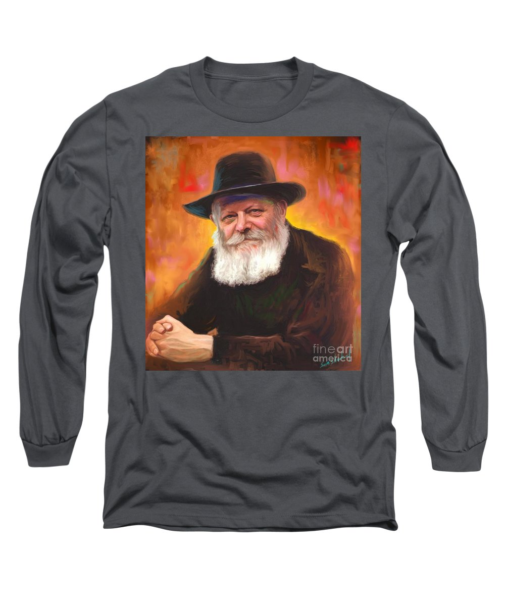 Lubavitcher Rebbe Long Sleeve T-Shirt featuring the painting Lubavitcher Rebbe by Sam Shacked
