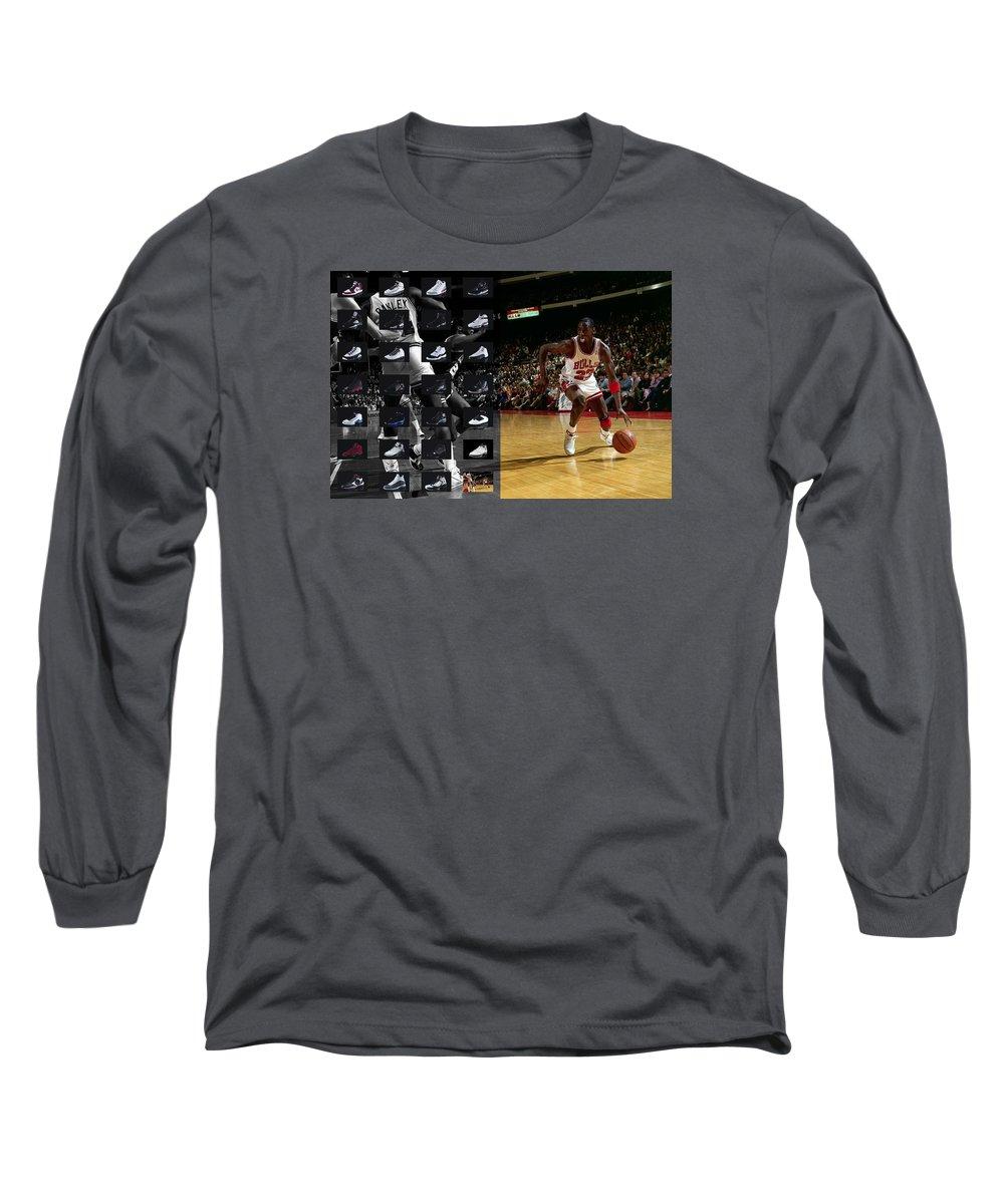 Michael Jordan Long Sleeve T-Shirt featuring the photograph Michael Jordan Shoes by Joe Hamilton