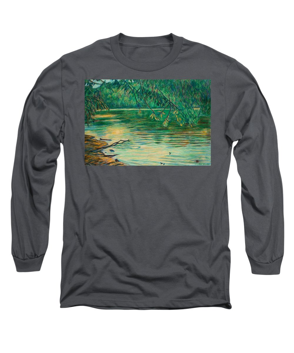 Landscape Long Sleeve T-Shirt featuring the painting Mid-spring On The New River by Kendall Kessler
