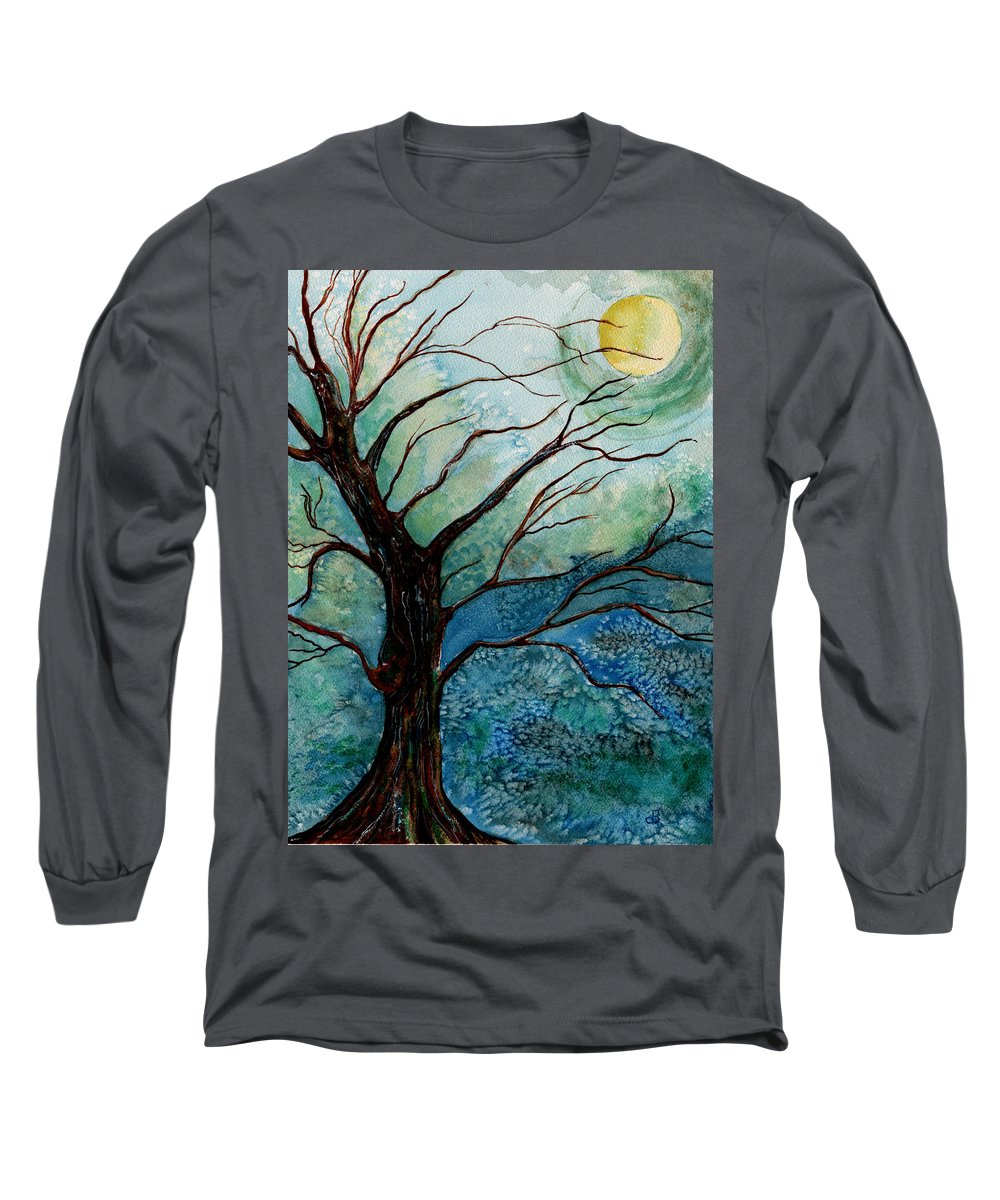 Landscape Long Sleeve T-Shirt featuring the painting Moonrise In The Wild Night by Brenda Owen
