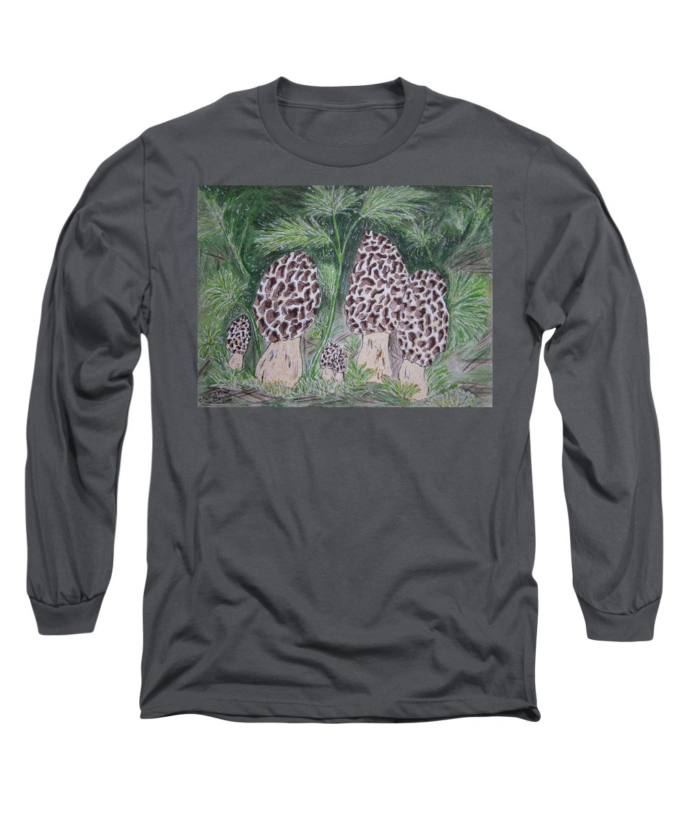 Morel Long Sleeve T-Shirt featuring the painting Morel Mushrooms by Kathy Marrs Chandler