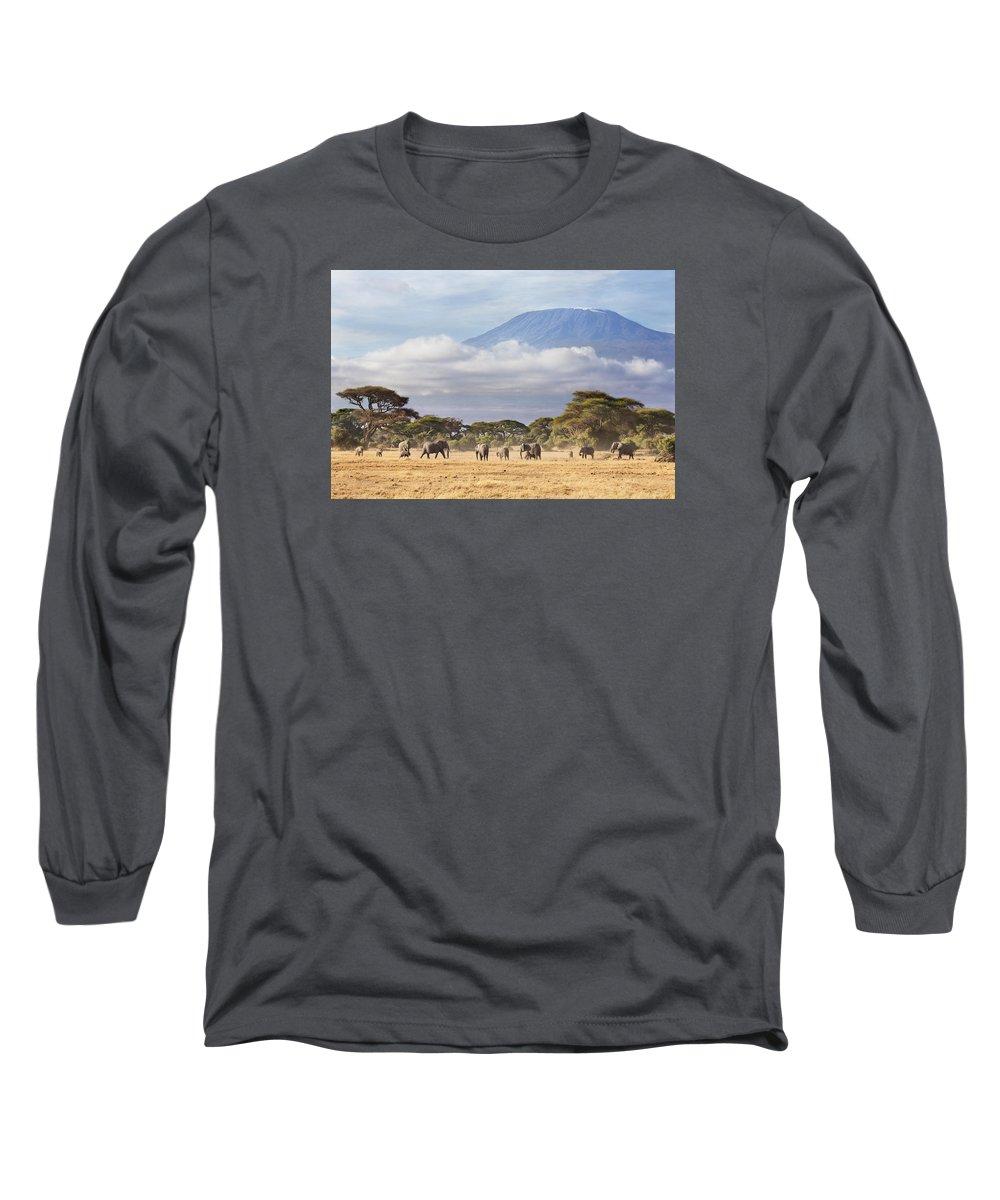 Nis Long Sleeve T-Shirt featuring the photograph Mount Kilimanjaro Amboseli by Richard Garvey-Williams