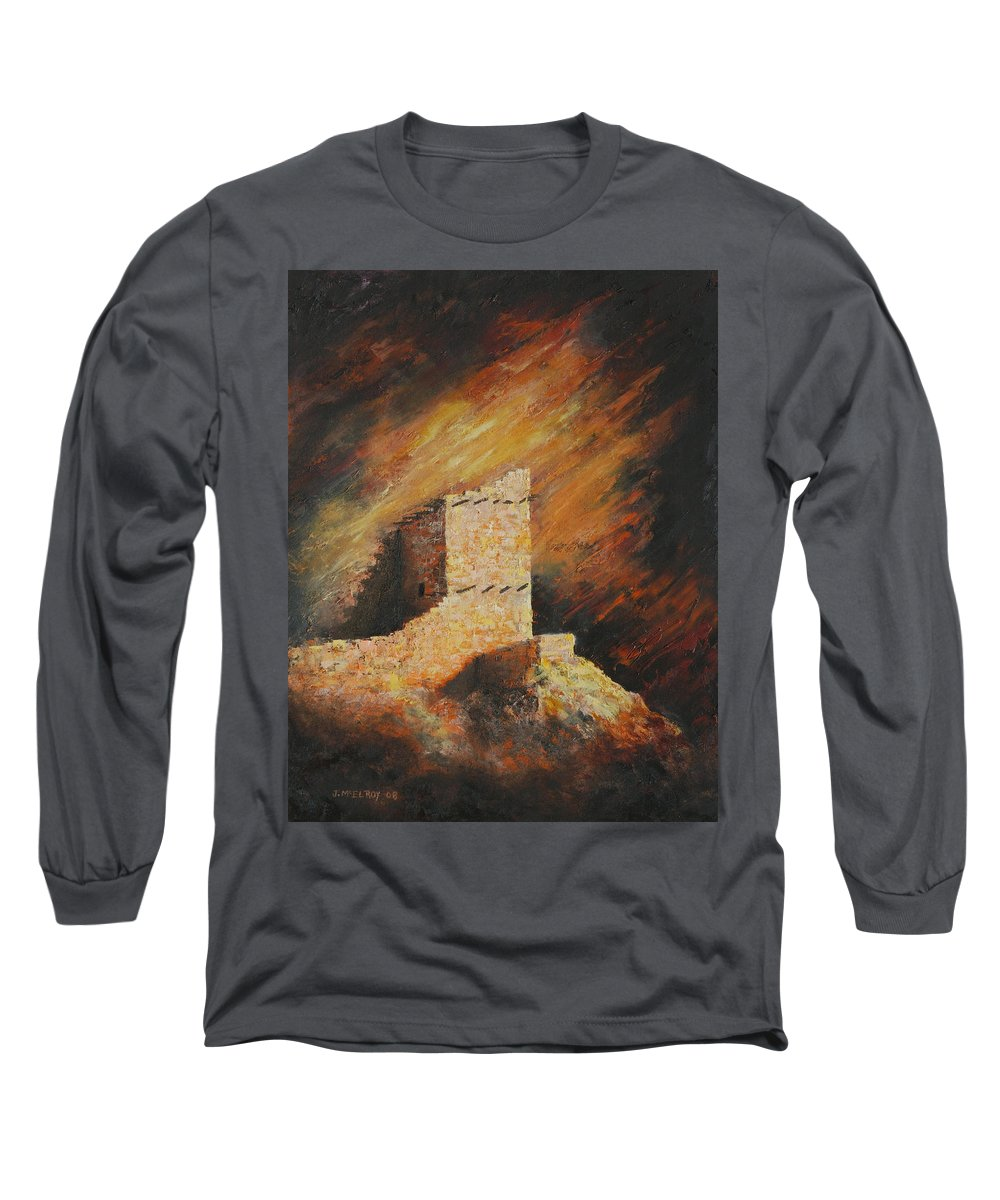 Anasazi Long Sleeve T-Shirt featuring the painting Mummy Cave Ruins 2 by Jerry McElroy