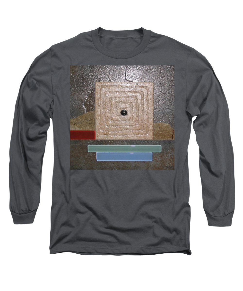 Assemblage Long Sleeve T-Shirt featuring the relief New Moon by Elaine Booth-Kallweit
