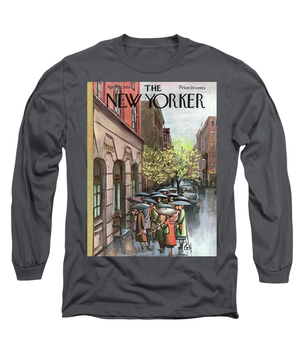 Urban Long Sleeve T-Shirt featuring the painting New Yorker April 21st, 1951 by Arthur Getz