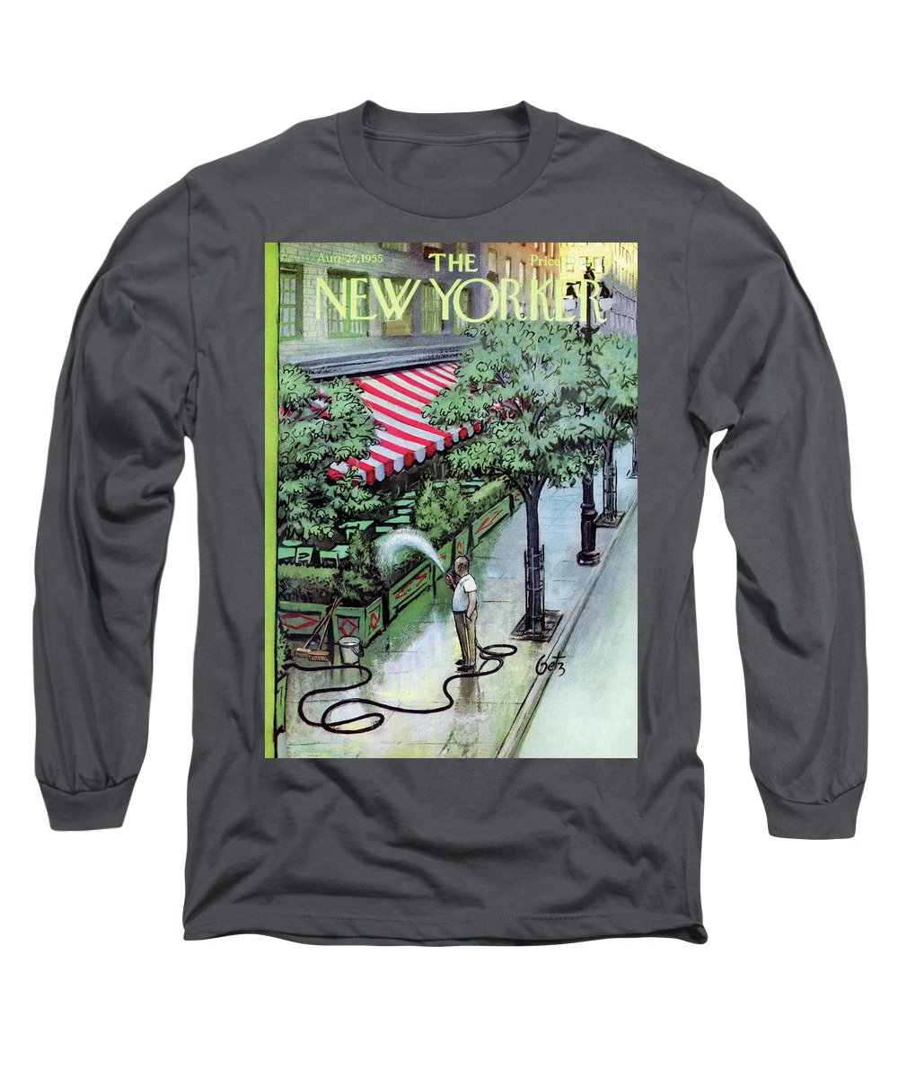 Restaurant Long Sleeve T-Shirt featuring the painting New Yorker August 27th, 1955 by Arthur Getz